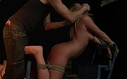 Submissive whore Viktoria Blonde, treated hard. Part 1.