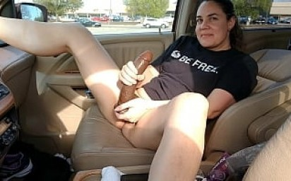 Husband films wife fucking HUGE BBC dildo in mall parking lot - Becky Tailorxxx