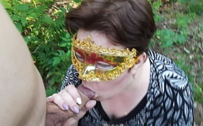 Russian chubby babe ssucks her lovers cock in the forest and in the car