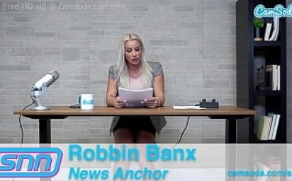Camsoda News Network MILF Reporter reads out news as she rides the sybian