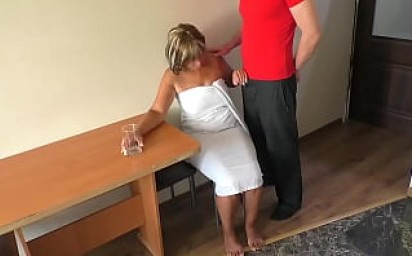 Mom was sad until she touched her son's penis and had anal sex.