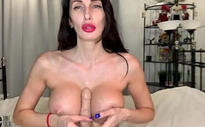 Hot milf fucks her big tits