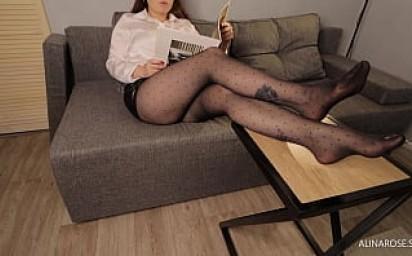 Sexy Secretary CFNM Femdom Handjob in Pantyhose