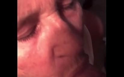 Grannypov sucks a hard dick gets a cum shower